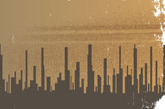 Dark City. A cityscape in sepia with heavy grunge Stock Photos