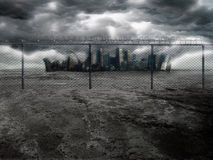 Dark City 2. A dark and dramatic post-apocalyptic background scene Royalty Free Stock Photography