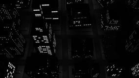 Dark city flyby stock video footage