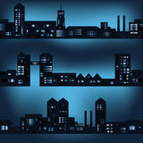Dark city landscapes in night with lights. Eps10 Stock Illustration