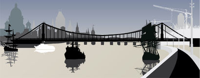 Dark city with river and bridge Stock Photos