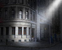 Dark City Street Corner, Light Stock Photos