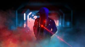 Dark city street with neon light, smoke, smog, dust. royalty free illustration