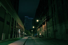 Dark City Street at Night Royalty Free Stock Photo