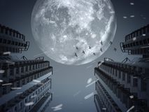 Dark city under the full moon. Dark and cold night in the city with snow Stock Photo