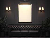 Dark classic interior with sofa and picture frame on wall. 3d rendering. Dark classic interior with sofa and blank picture frame on wall. 3d rendering stock photos