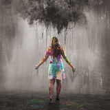 Dark cloud and colorful rain drops Stock Images
