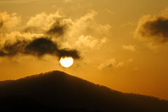 Dark Cloud Mountain Sunrise Stock Photography