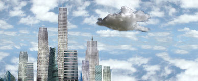Dark cloud over the city. A city facing an economic and financial recession vector illustration