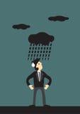 Dark Cloud Raining on Man Vector Cartoon Royalty Free Stock Image