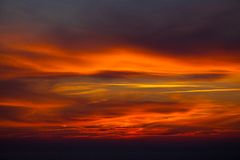 Dark cloud on red sky Stock Images