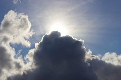 Dark Cloud with Silver Lining Stock Images