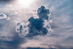 Dark cloud in the sky back lit by the sun royalty free stock photography