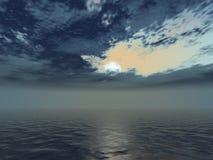 Dark clouds. And grey ocean Stock Photos