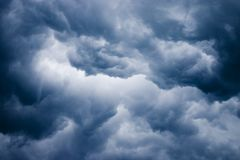 Dark clouds. Ominous dark clouds during storm stock images