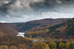 Dark clouds above the National Park in The Eifel, Germany. Stock Photography