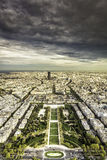 Dark clouds above Paris Stock Photo