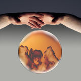 Dark clouds ahead 2. Crystal ball showing dark clouds on the horizon with a clipping path royalty free stock photos