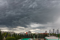 Dark clouds asperatus over Kaliningrad Stock Image
