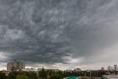Dark clouds asperatus over Kaliningrad Royalty Free Stock Image