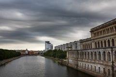 Dark clouds asperatus over Kaliningrad Royalty Free Stock Photography
