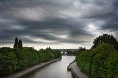 Dark clouds asperatus over Kaliningrad Stock Images