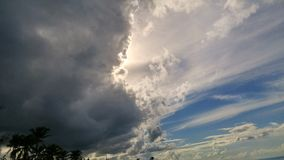 Dark clouds on Caribbean sky royalty free stock photos