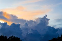 Dark clouds and dark sky in rainy day, Cloudy and stormy and blu. E sky with sunset on evening Royalty Free Stock Photos
