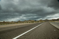 Dark Clouds, Desert Highway stock image