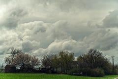 Dark clouds, landscape stock images