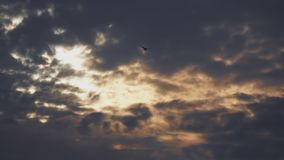 Dark clouds ly in the sky
