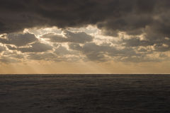 Dark Clouds Over The Atlantic Ocean. The Atlantic Ocean and overcast weather Royalty Free Stock Photos