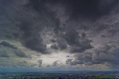 Dark Clouds Over Baia Mare stock photography