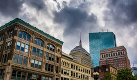 Dark clouds over buildings in Boston, Massachusetts. Stock Images
