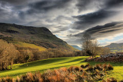 Dark clouds over the cadair idris mountain range in snowdonia Stock Photography