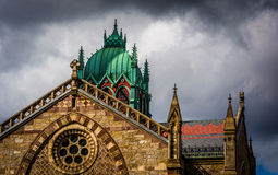 Dark clouds over a cathedral in Boston, Massachusetts. Stock Image