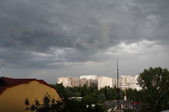 Dark clouds over the city. Announcing the storm in summer Stock Photography