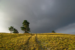 Dark clouds over countryside Royalty Free Stock Photography