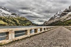 On the dam of Fedaia Lake Stock Photos