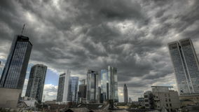Dark clouds over Frankfurt Skyline stock footage