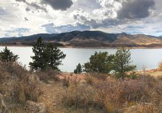 Dark clouds over Horsetooth Reservoir royalty free stock photo