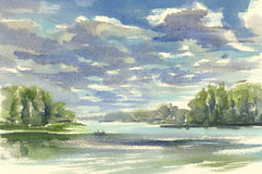Dark clouds over the lake watercolor Stock Photos