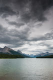 Dark clouds over Maligne Lake. Jasper National Park, Alberta, Canada Royalty Free Stock Photos