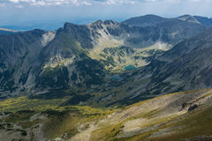 Dark clouds over Marichini Lakes, Landscape from Musala Peak, Rila mountain Royalty Free Stock Photography