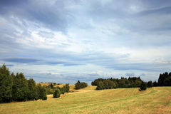 Dark clouds over the meadow. Royalty Free Stock Photos