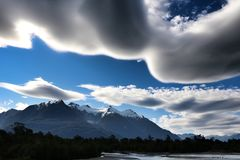 Dark clouds over Patagonia stock photography