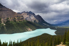 Dark clouds over Peyto Lake Stock Photography