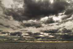 dark clouds over the sea. Royalty Free Stock Photography