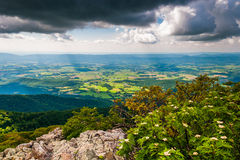 Dark clouds over the Shenandoah Valley, seen from Stony Man Moun Stock Photo