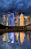 Dark clouds over the skyline of Doha Stock Photography